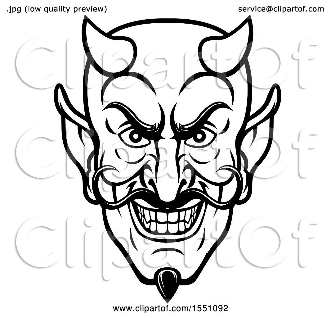 Clipart Of A Black And White Grinning Evil Devil Face