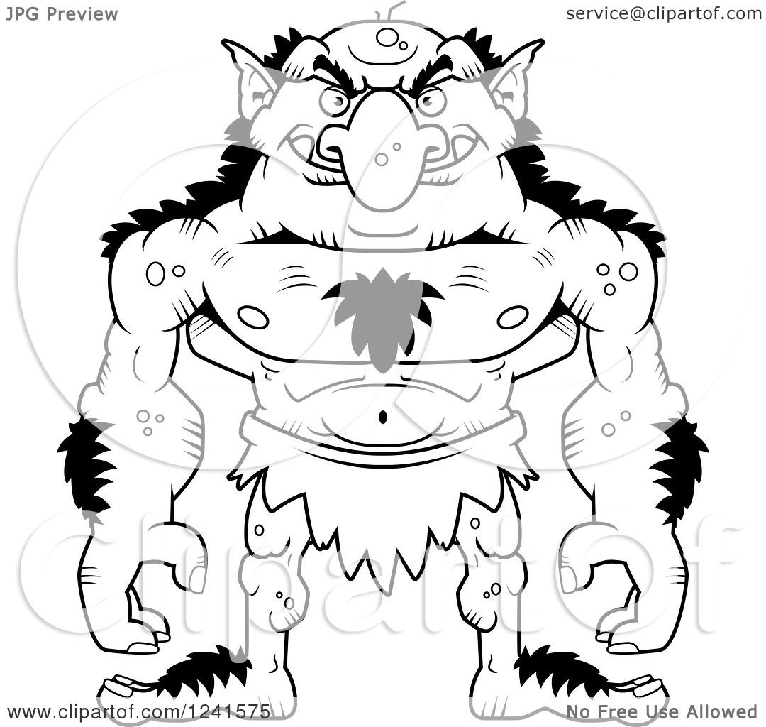 Clipart Of A Black And White Grinning Evil Troll