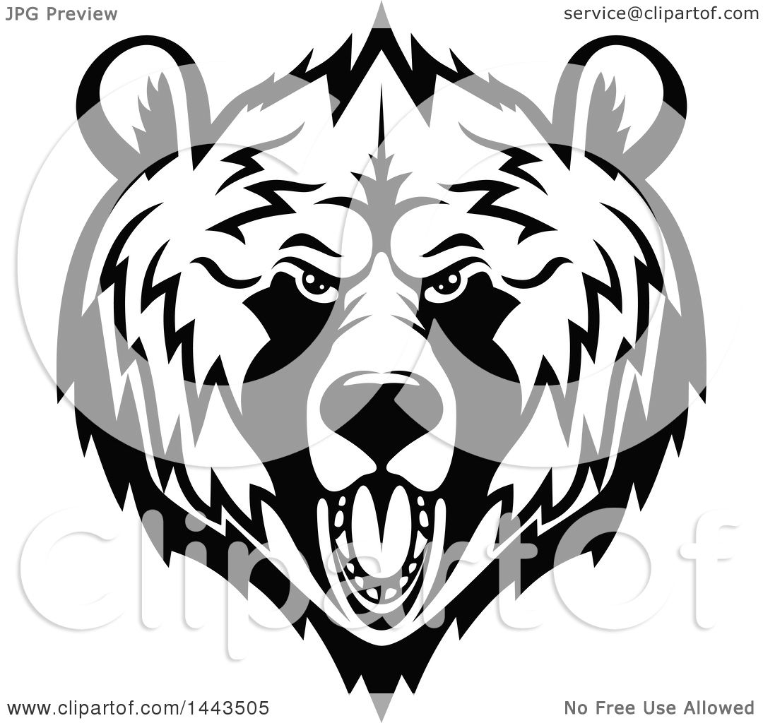 Clipart Of A Black And White Grizzly Bear Mascot Head Logo