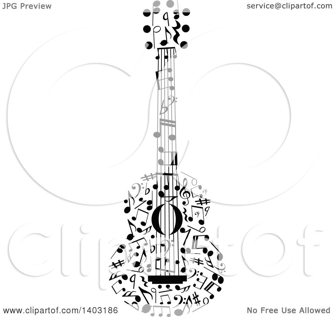 Clipart Of A Black And White Guitar Made Of Music Notes