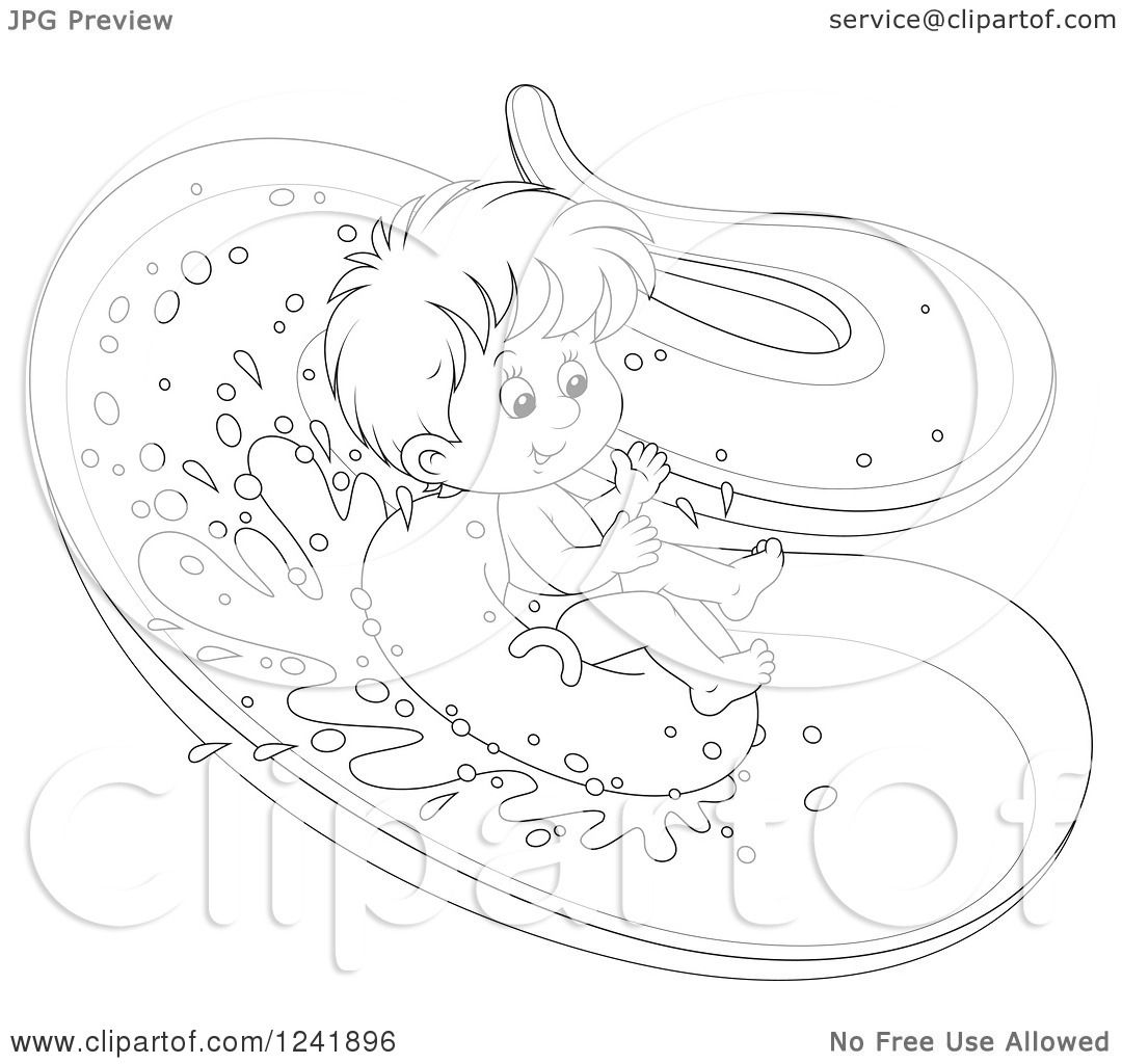 Clipart Of A Black And White Happy Boy Tubing Down A
