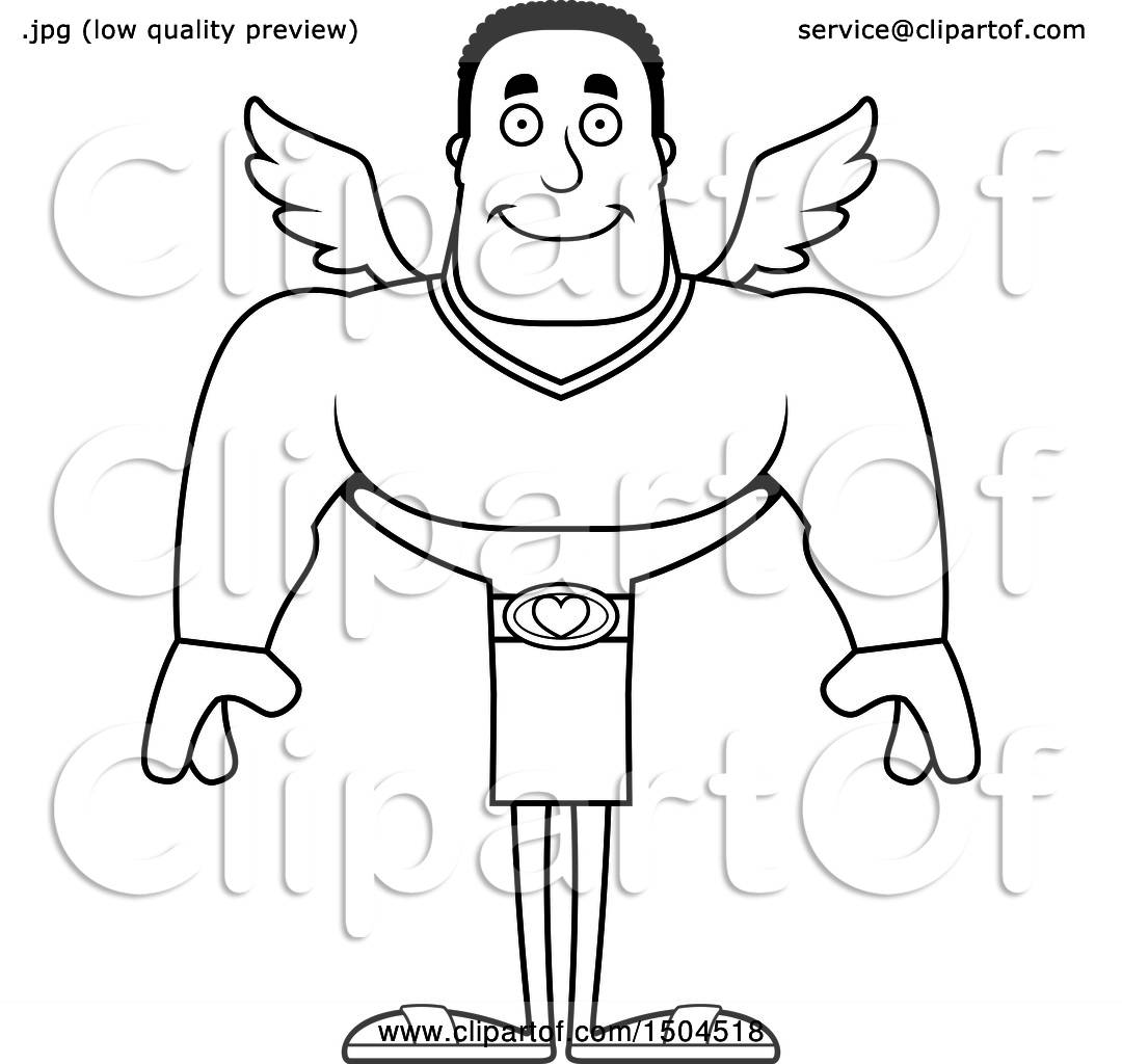 Clipart Of A Black And White Happy Buff African American