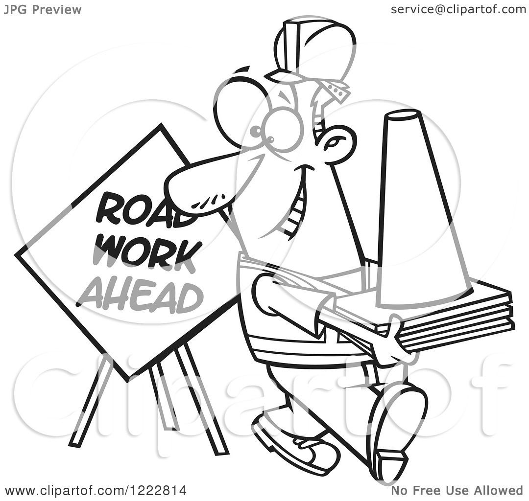 Clipart Of A Black And White Happy Construction Worker