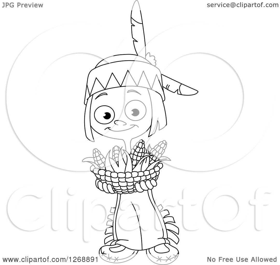Clipart Of A Black And White Happy Cute Native American