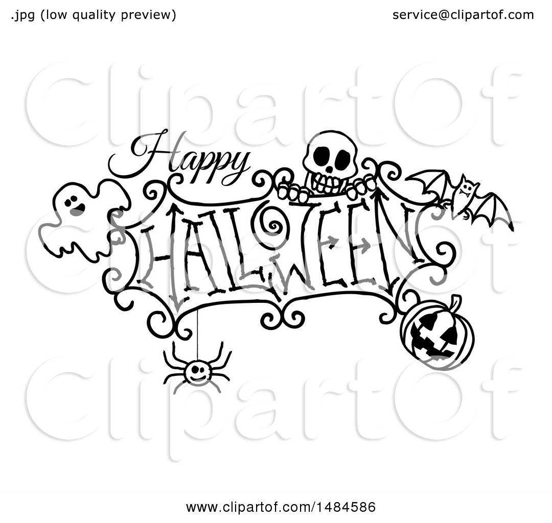 Clipart Of A Black And White Happy Halloween Greeting With