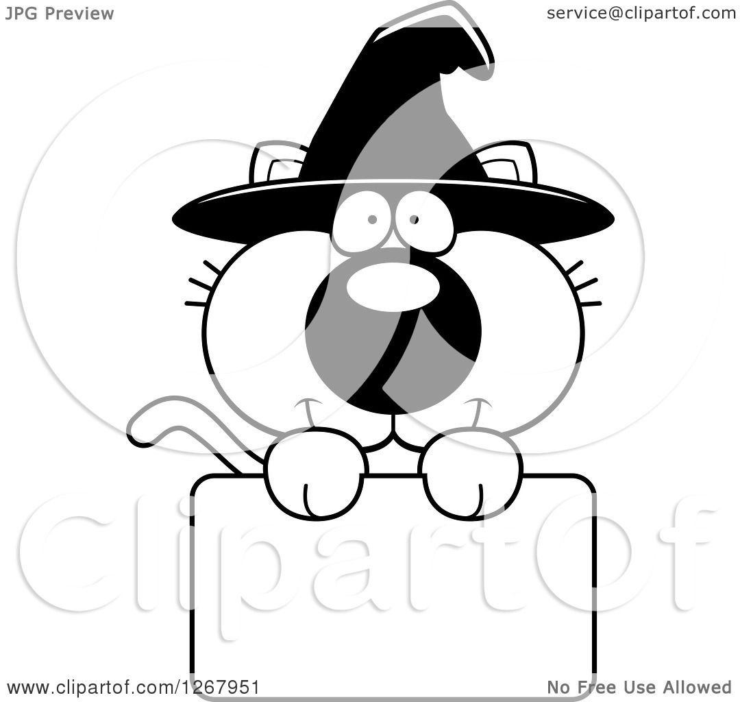 Clipart Of A Black And White Happy Halloween Witch Cat
