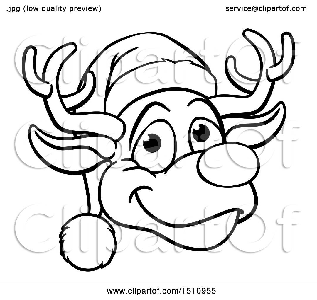 Clipart Of A Black And White Happy Reindeer Face Wearing A