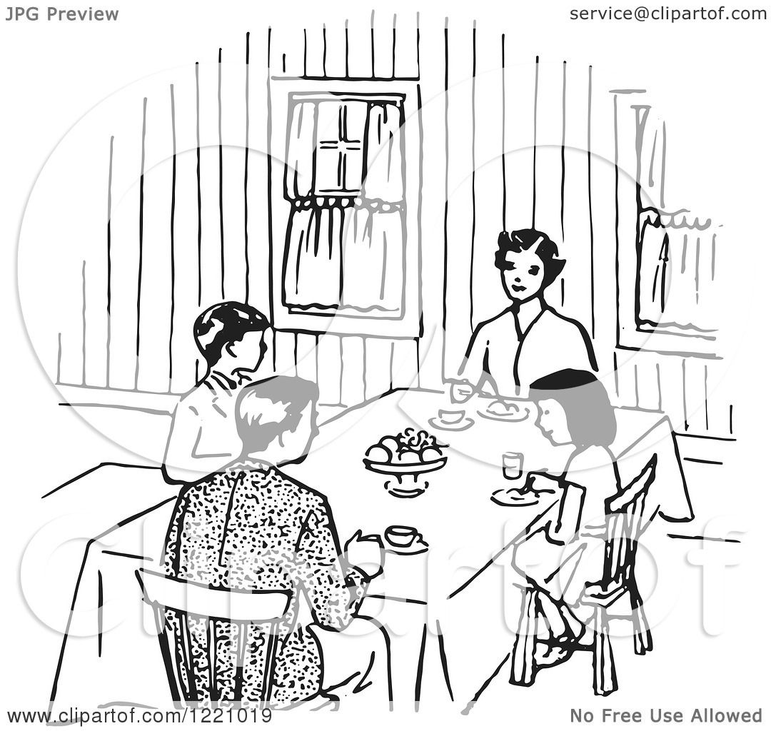 Clipart Of A Black And White Happy Retro Family Eating