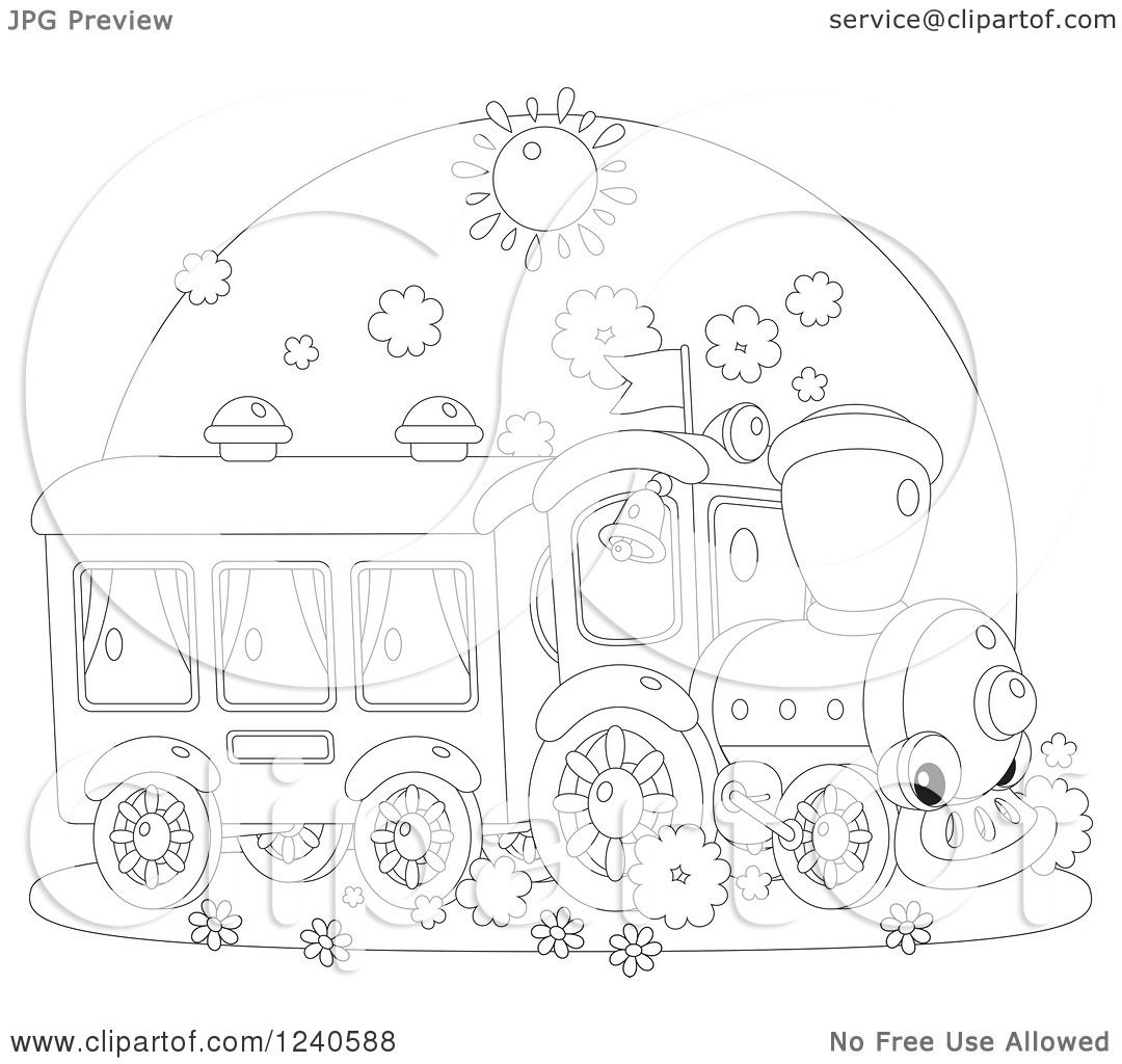 Clipart Of A Black And White Happy Train On A Sunny Day
