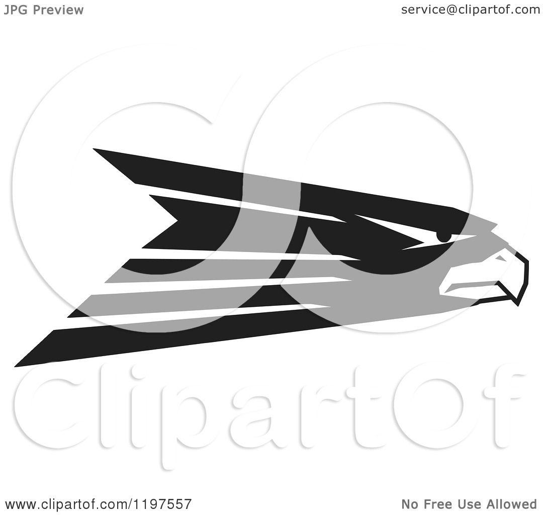 Clipart Of A Black And White Hawk Eagle Or Falcon Mascot