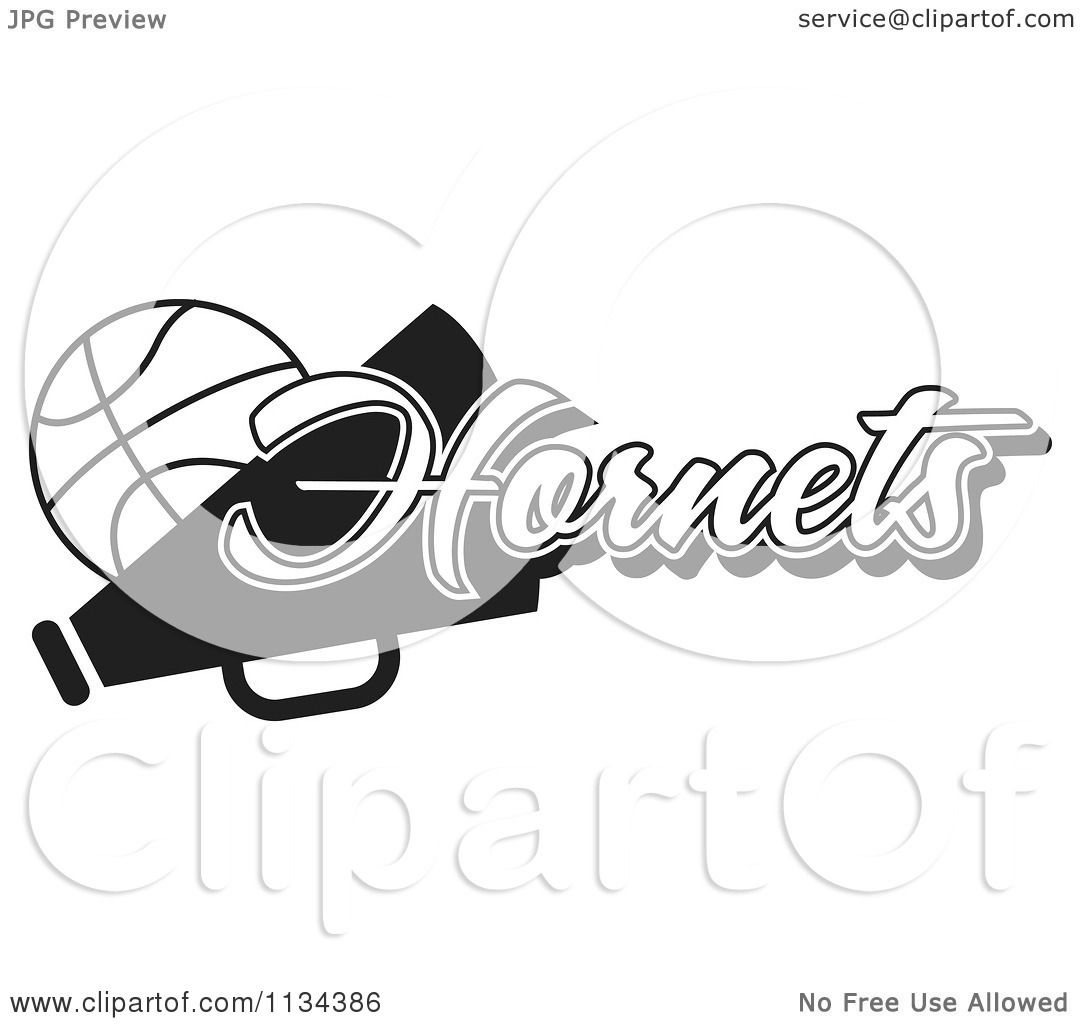 Clipart Of A Black And White Hornets Basketball Cheerleader Design