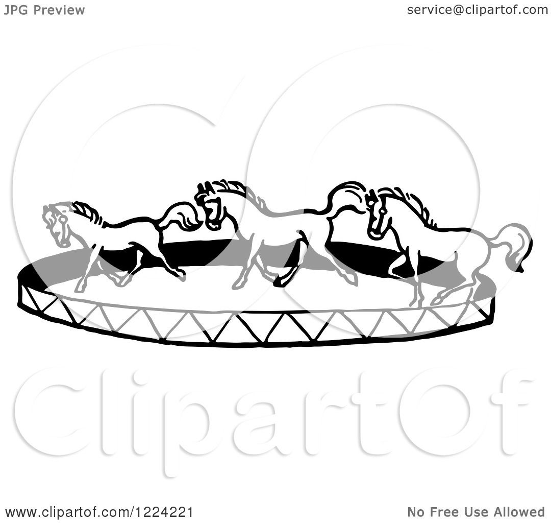 Clipart Of A Black And White Horse Circus Show