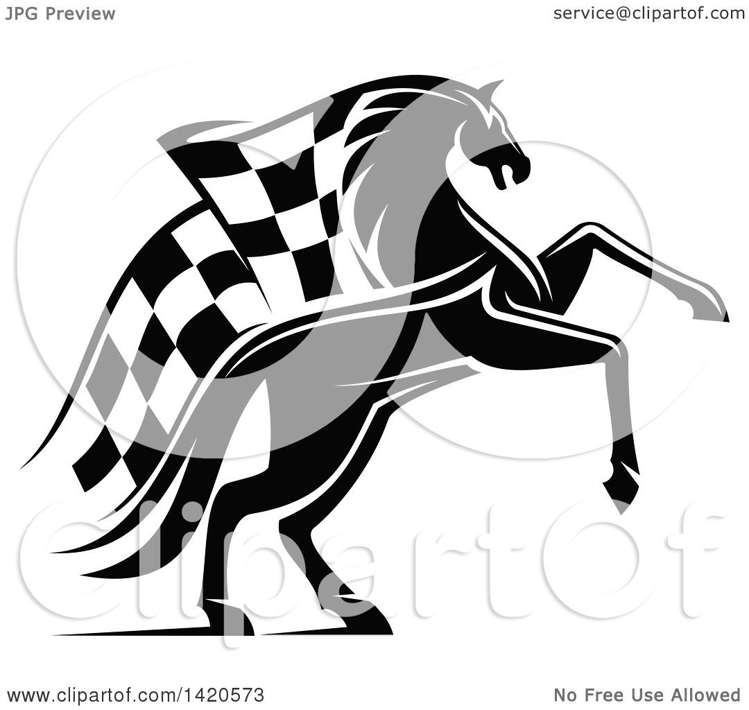 Clipart Of A Black And White Horse With A Checkered Racing