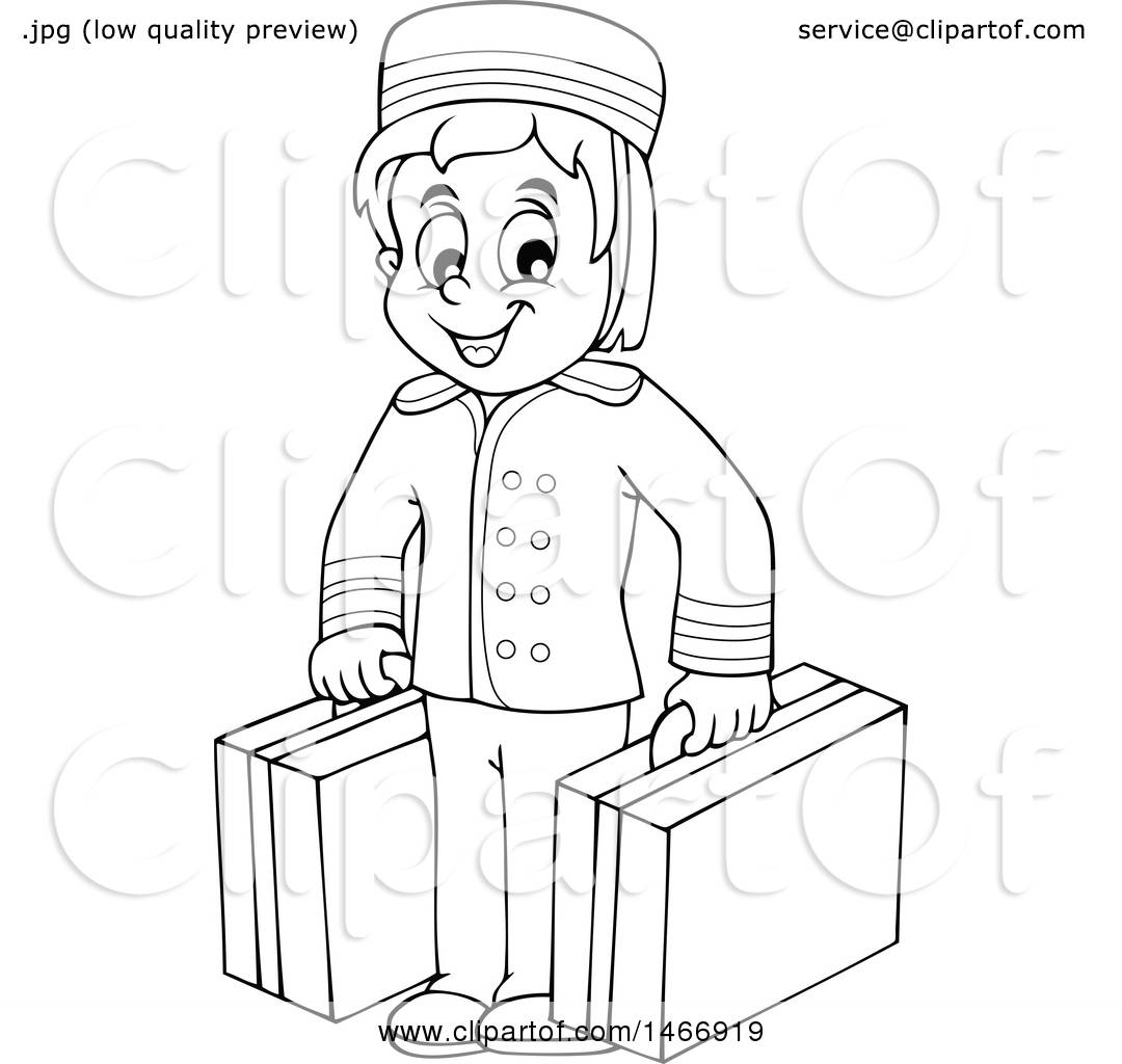 Clipart Of A Black And White Hotel Porter Carrying Luggage