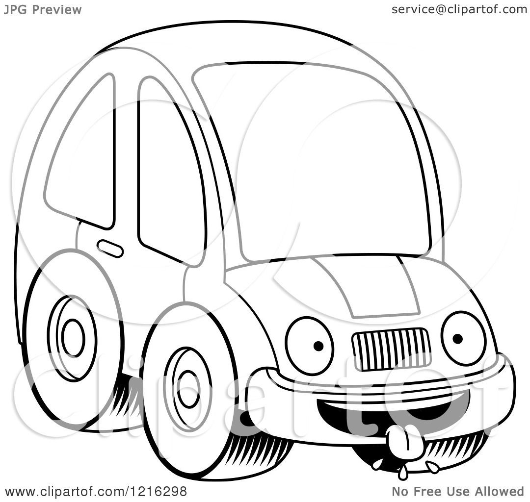 Clipart Of A Black And White Hungry Compact Car Character