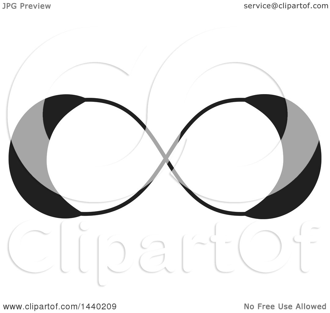 Clipart Of A Black And White Infinity Symbol