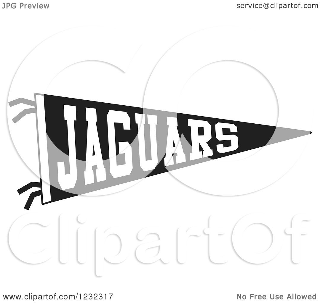Clipart Of A Black And White Jaguars Team Pennant Flag