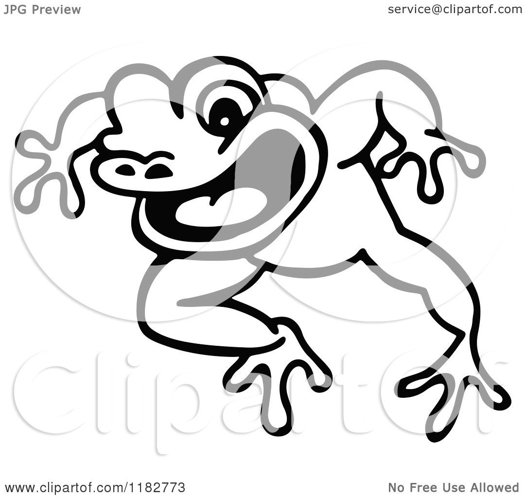 Clipart Of A Black And White Jumping Frog