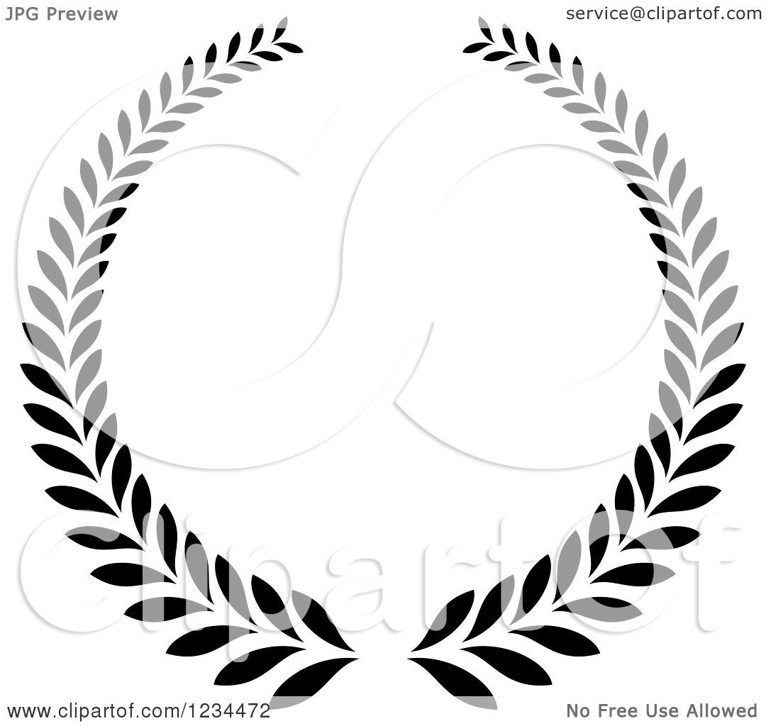 Clipart Of A Black And White Laurel Wreath 6