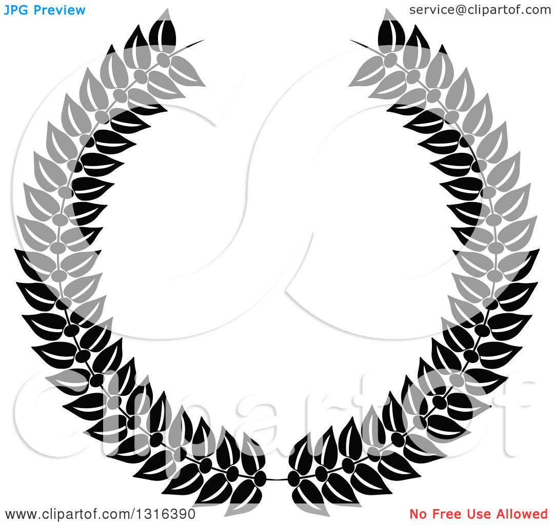 Clipart Of A Black And White Laurel Wreath Design 2