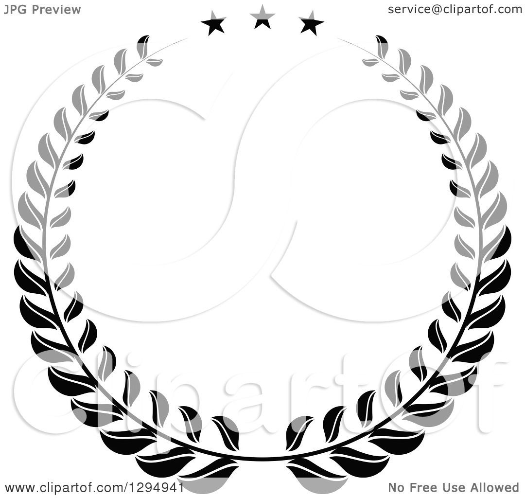 Clipart Of A Black And White Laurel Wreath With Stars
