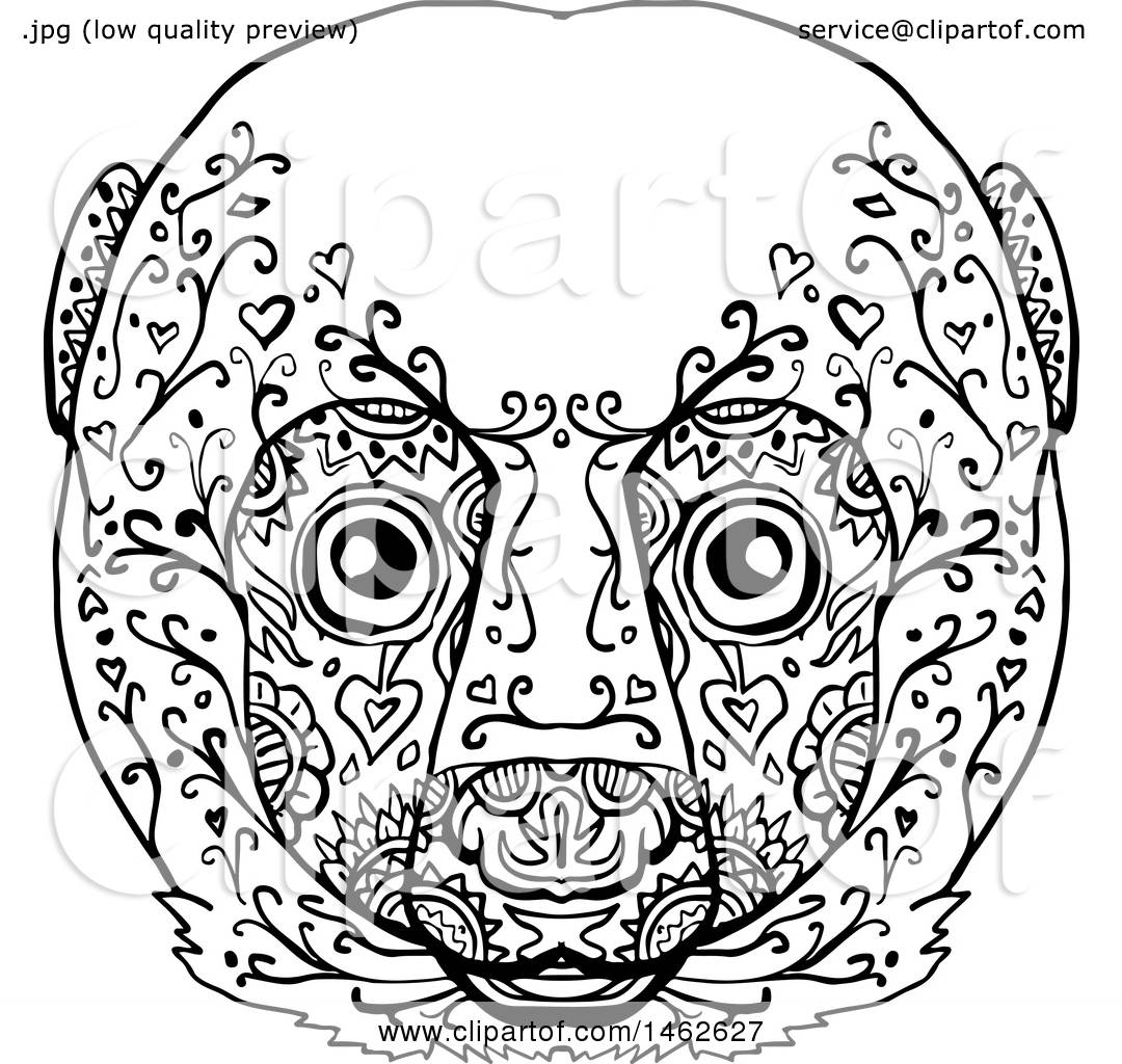 Clipart Of A Black And White Lemur Face In Mandala Style