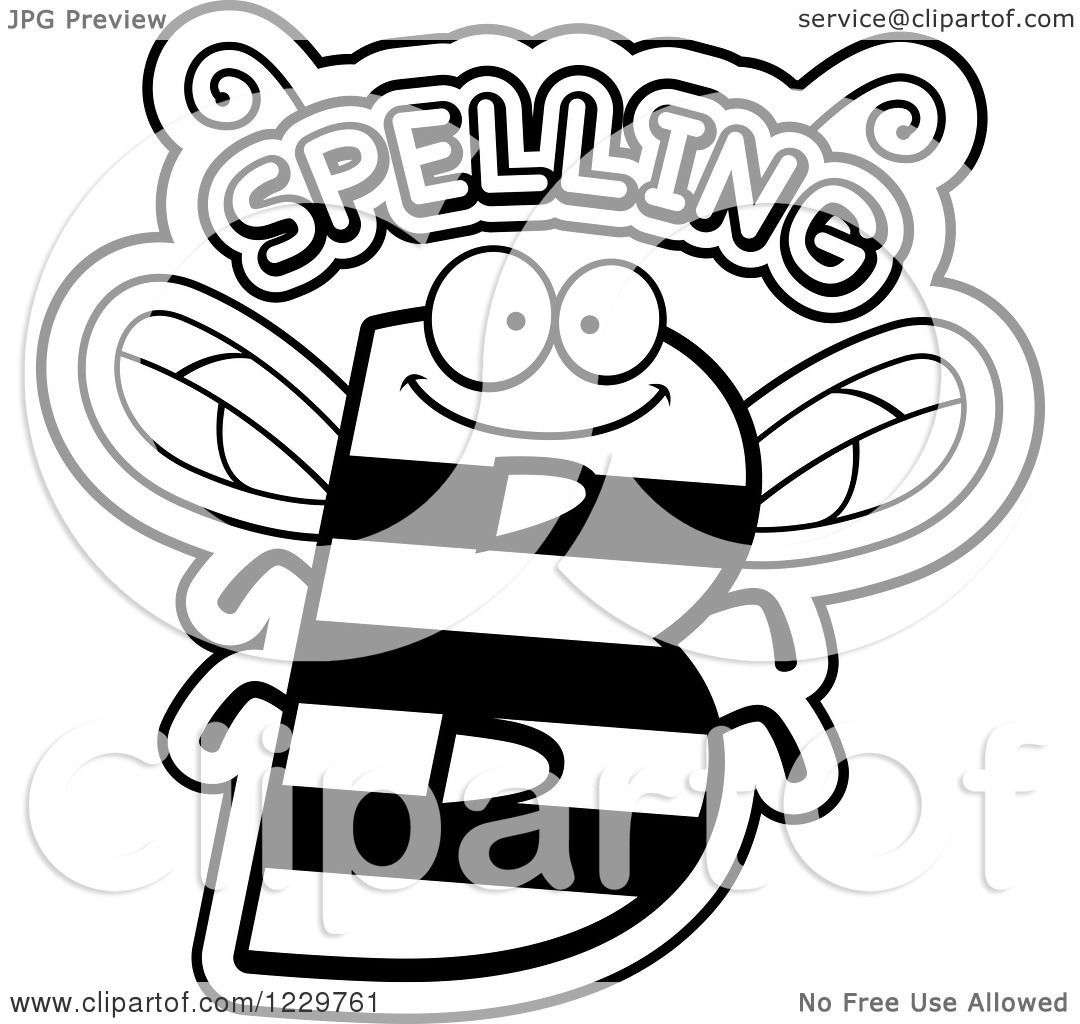 Clipart Of A Black And White Letter B Bee With Spelling