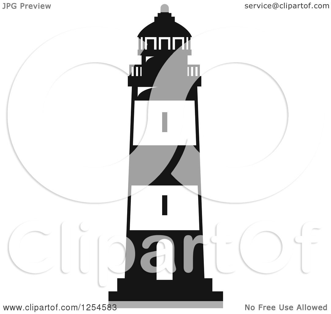 Clipart Of A Black And White Lighthouse