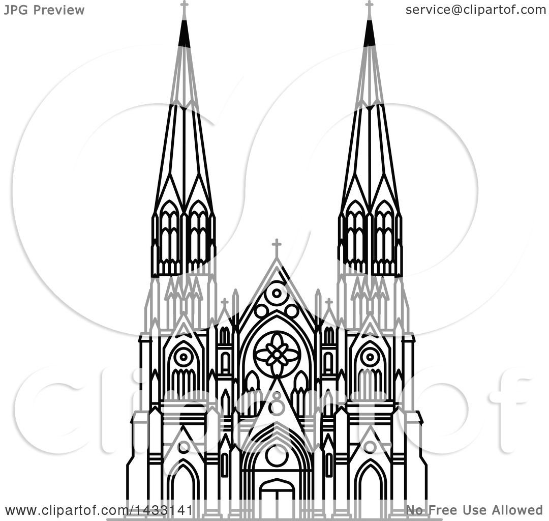 Clipart Of A Black And White Line Drawing Styled American Landmark St Patrick Cathedral