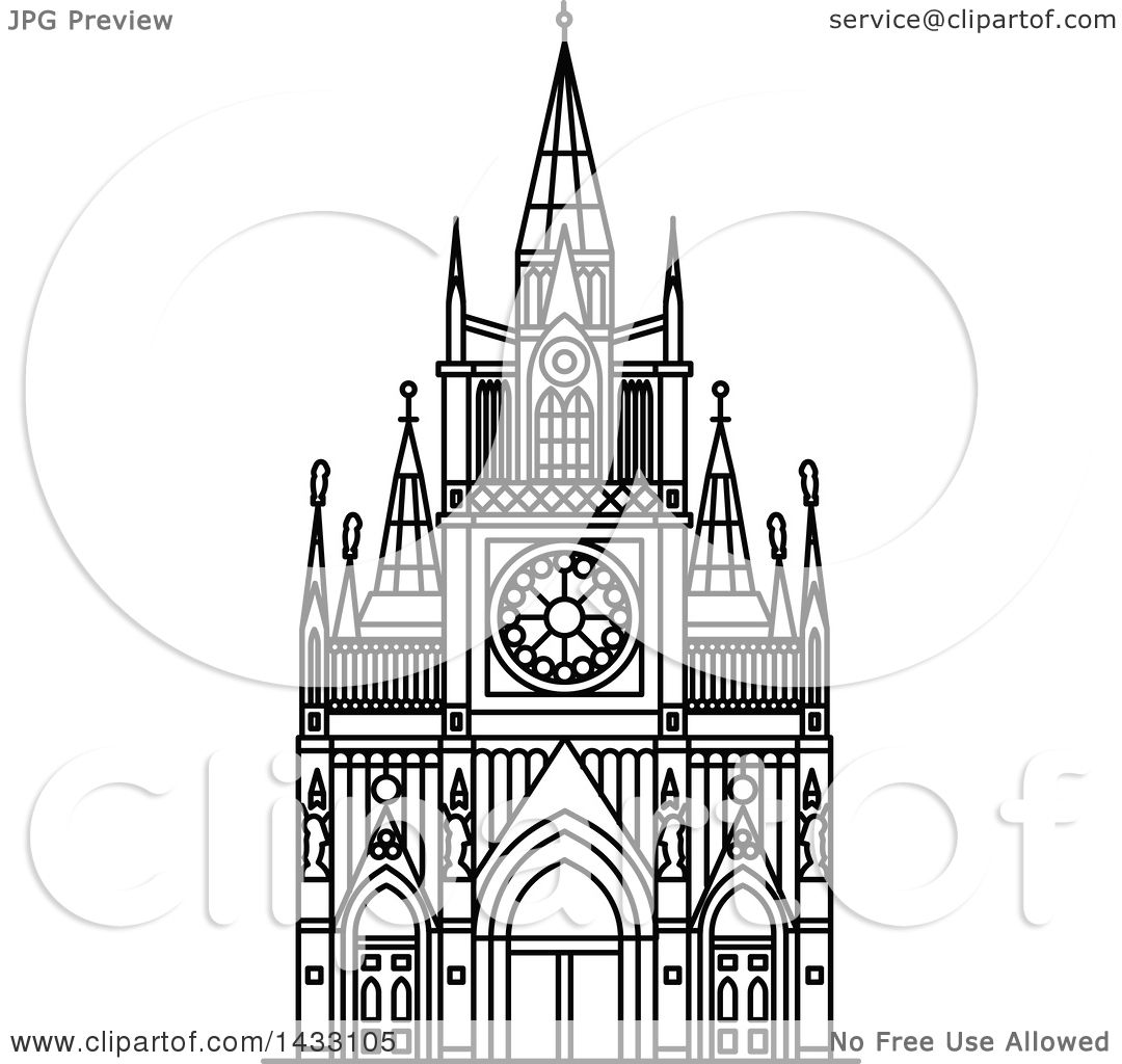 Clipart Of A Black And White Line Drawing Styled Colombian