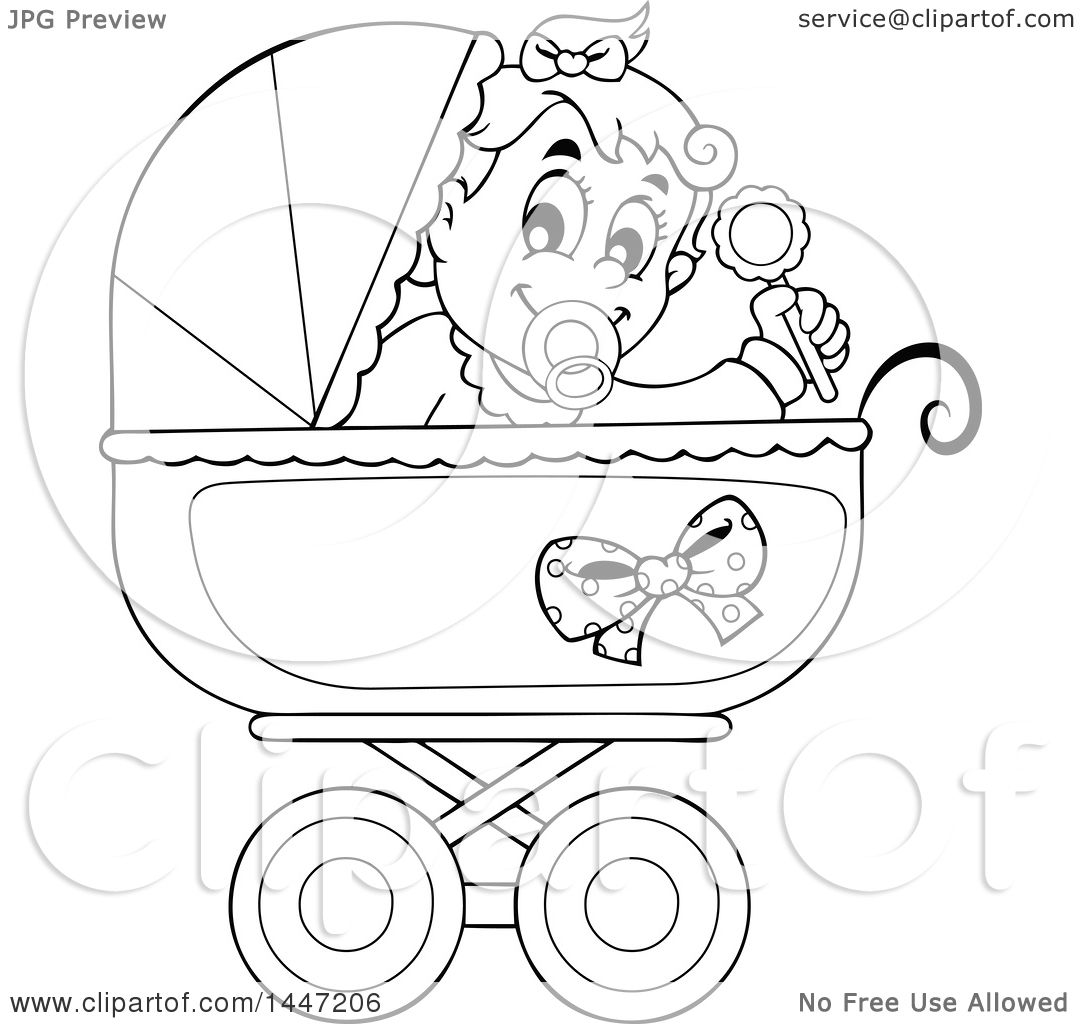 Clipart Of A Black And White Lineart Baby Girl Playing With A Rattle In A Baby Stroller