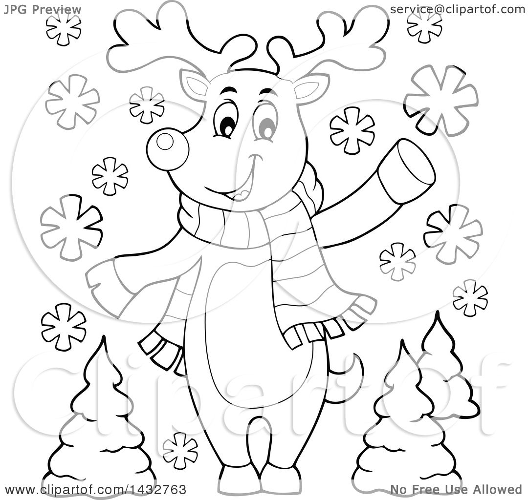 Clipart Of A Black And White Lineart Christmas Reindeer