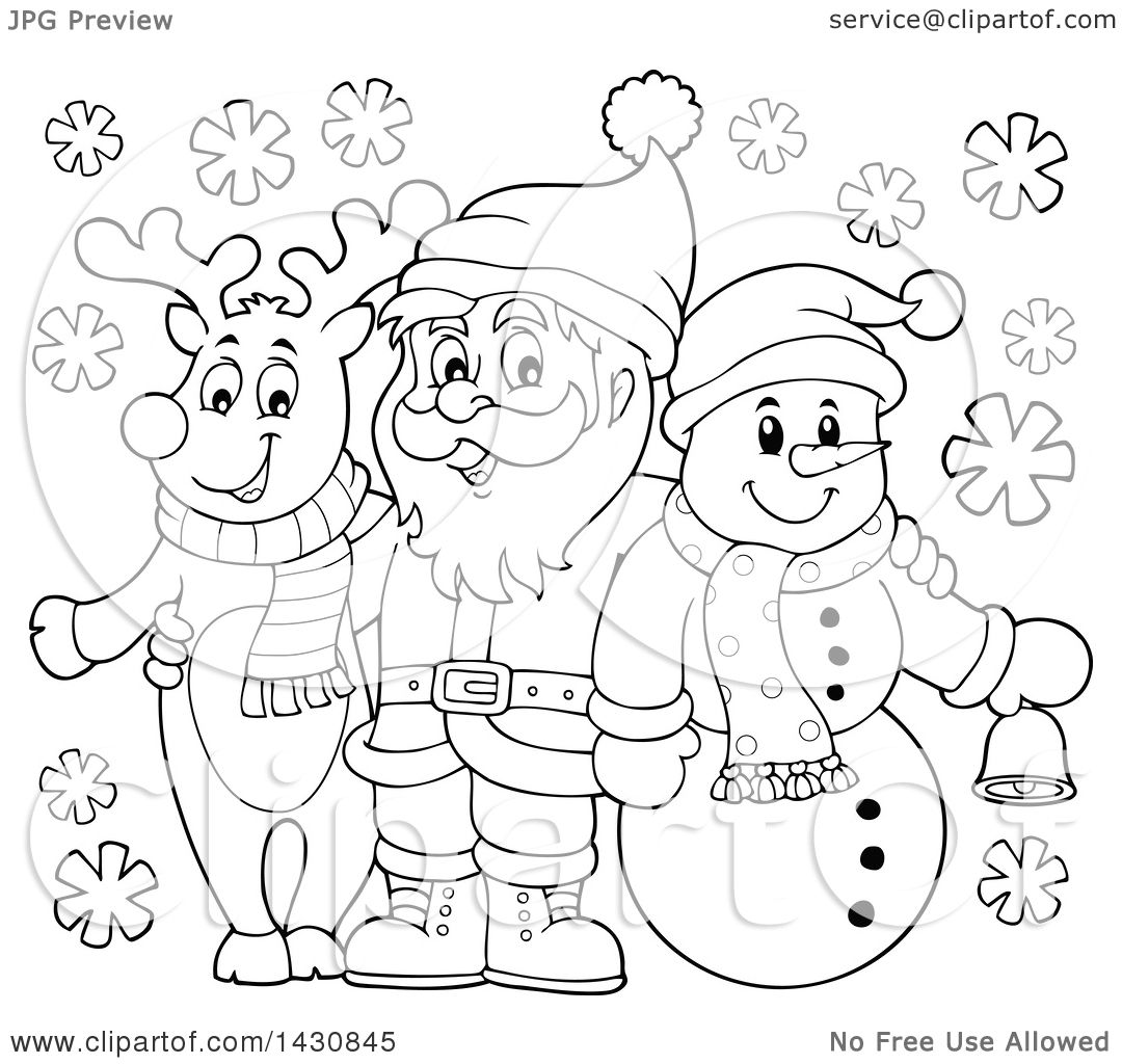 Clipart Of A Black And White Lineart Christmas Snowman And