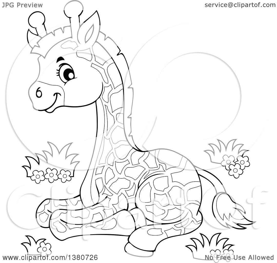 Clipart Of A Black And White Lineart Cute Baby Giraffe