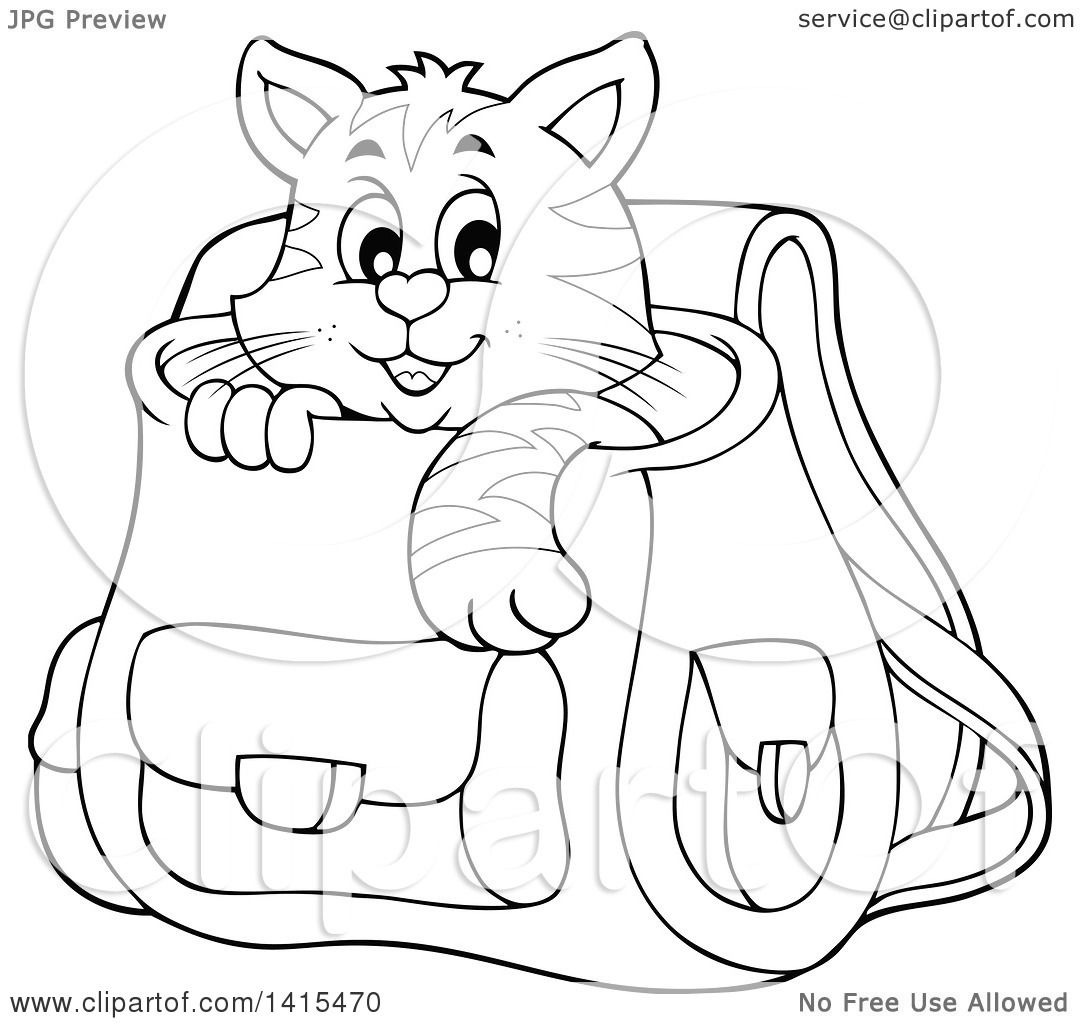 Clipart Of A Black And White Lineart Cute Cat Inside A Backpack