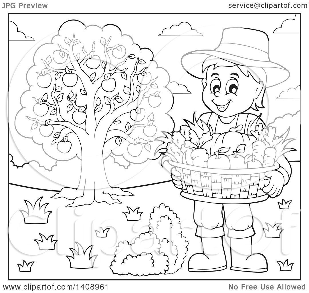 Clipart Of A Black And White Lineart Farmer Holding A