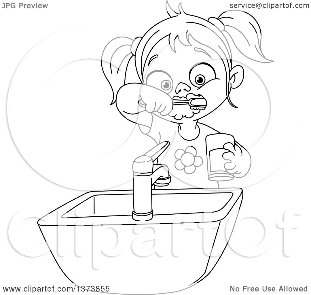 Clipart Of A Black And White Lineart Girl Brushing Her