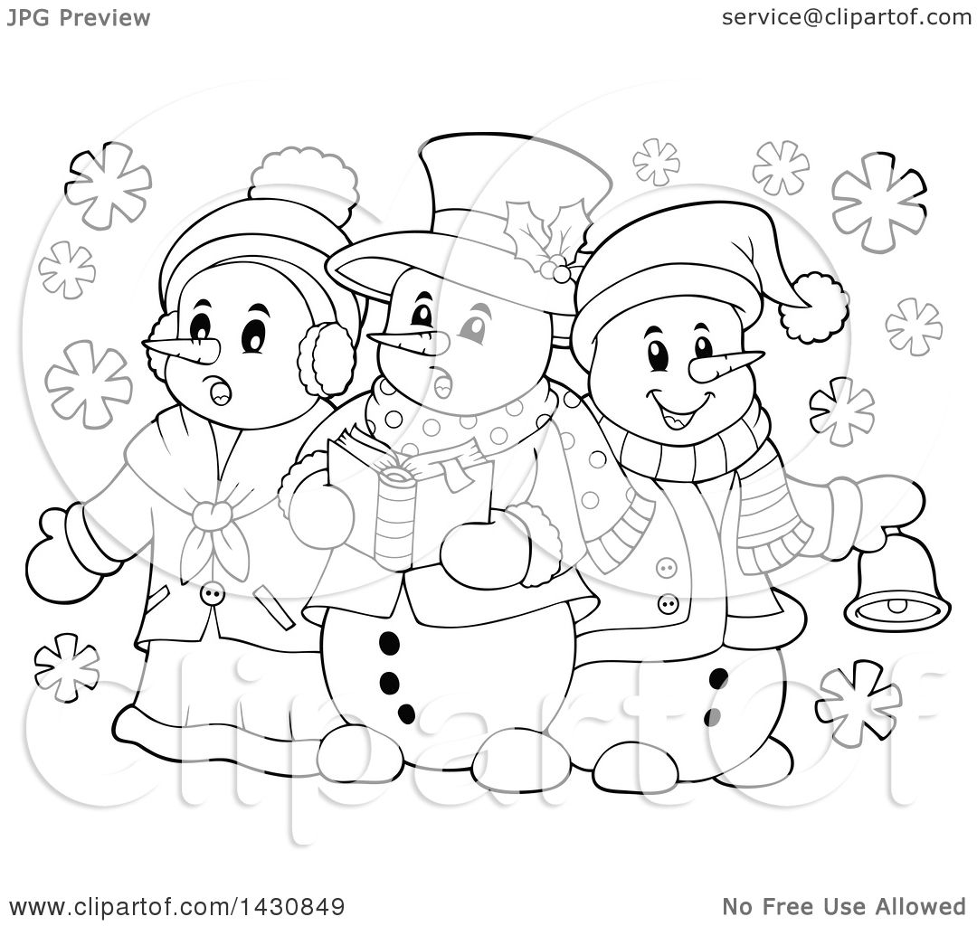 Clipart Of A Black And White Lineart Group Of Snowmen