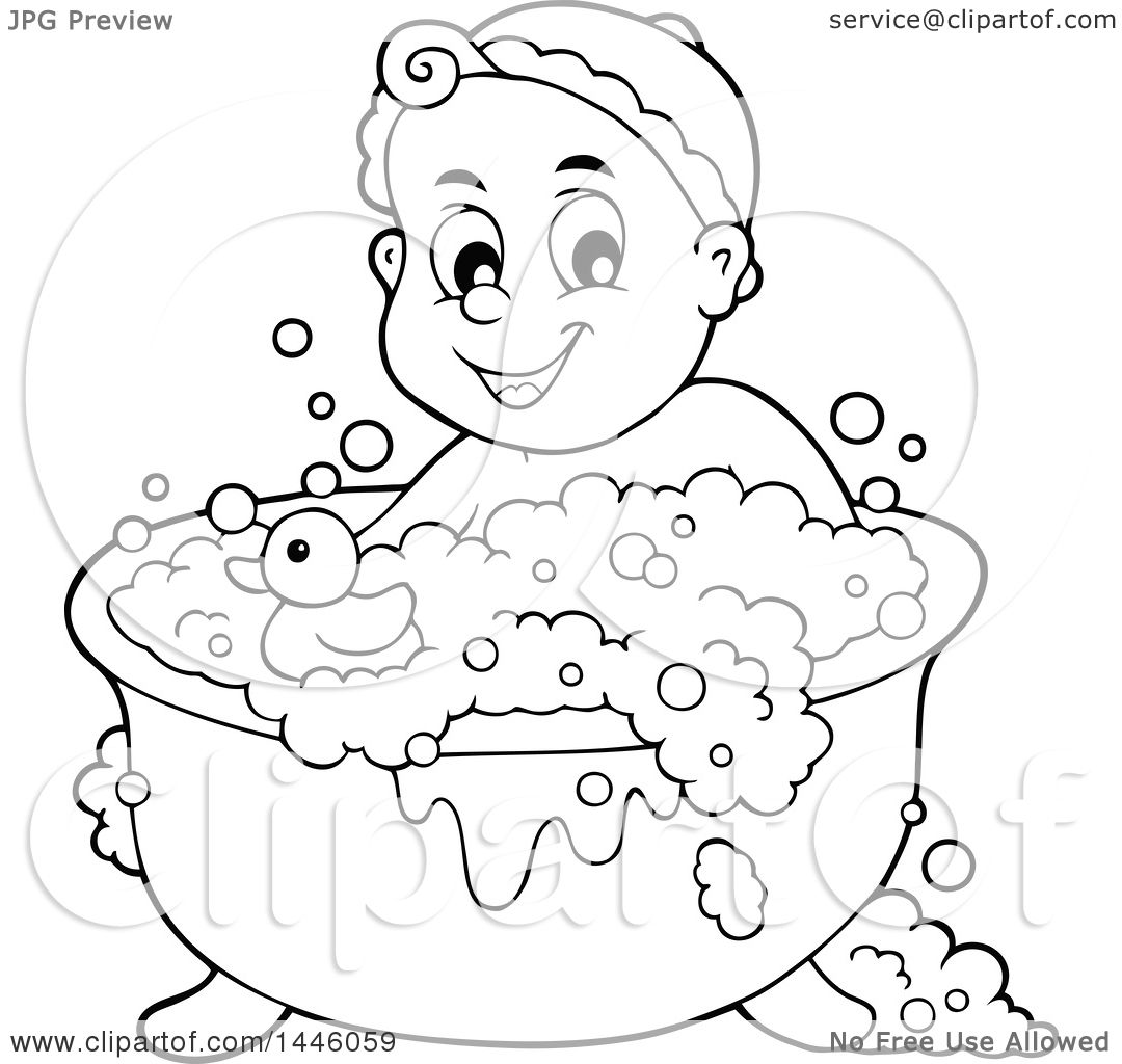 Clipart Of A Black And White Lineart Happy Baby Bathing In