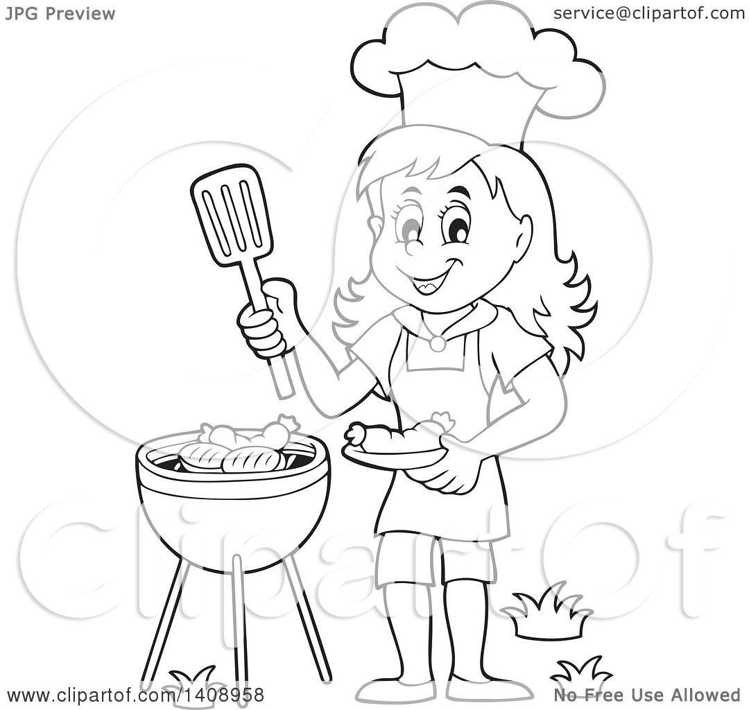 Clipart Of A Black And White Lineart Happy Girl Cooking On