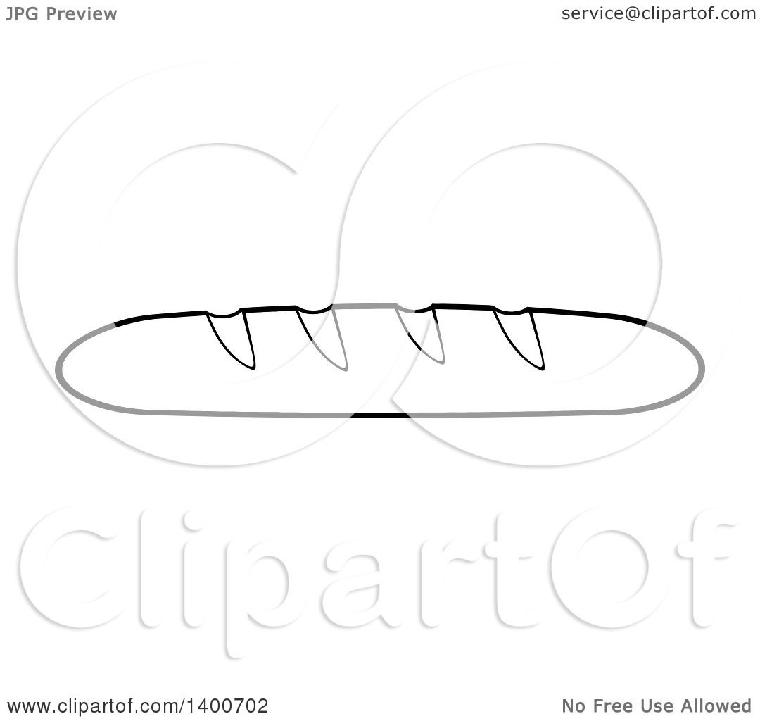Clipart Of A Black And White Lineart Loaf Of French Bread