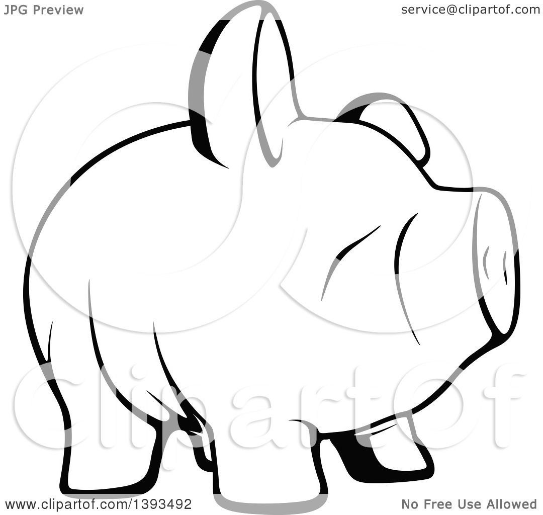 Clipart Of A Black And White Lineart Piggy Bank