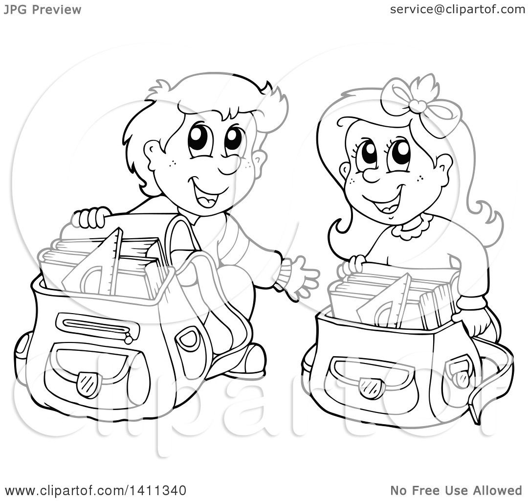 Clipart Of A Black And White Lineart School Boy And Girl Going Through Their Backpacks