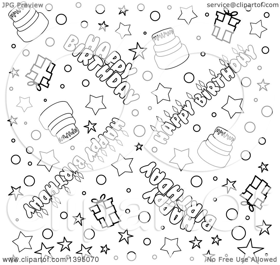 Clipart Of A Black And White Lineart Seamless Happy