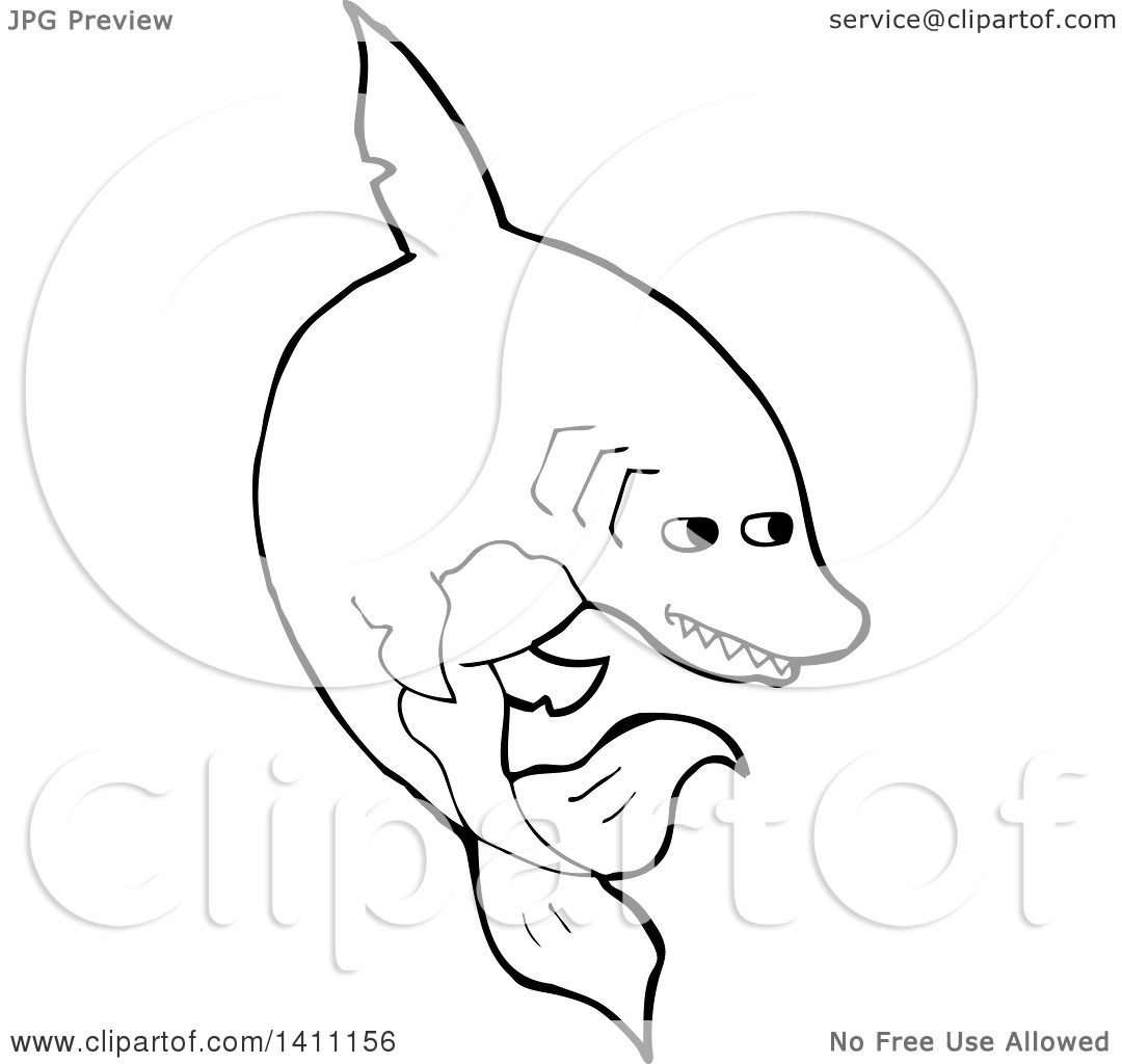 Clipart Of A Black And White Lineart Shark