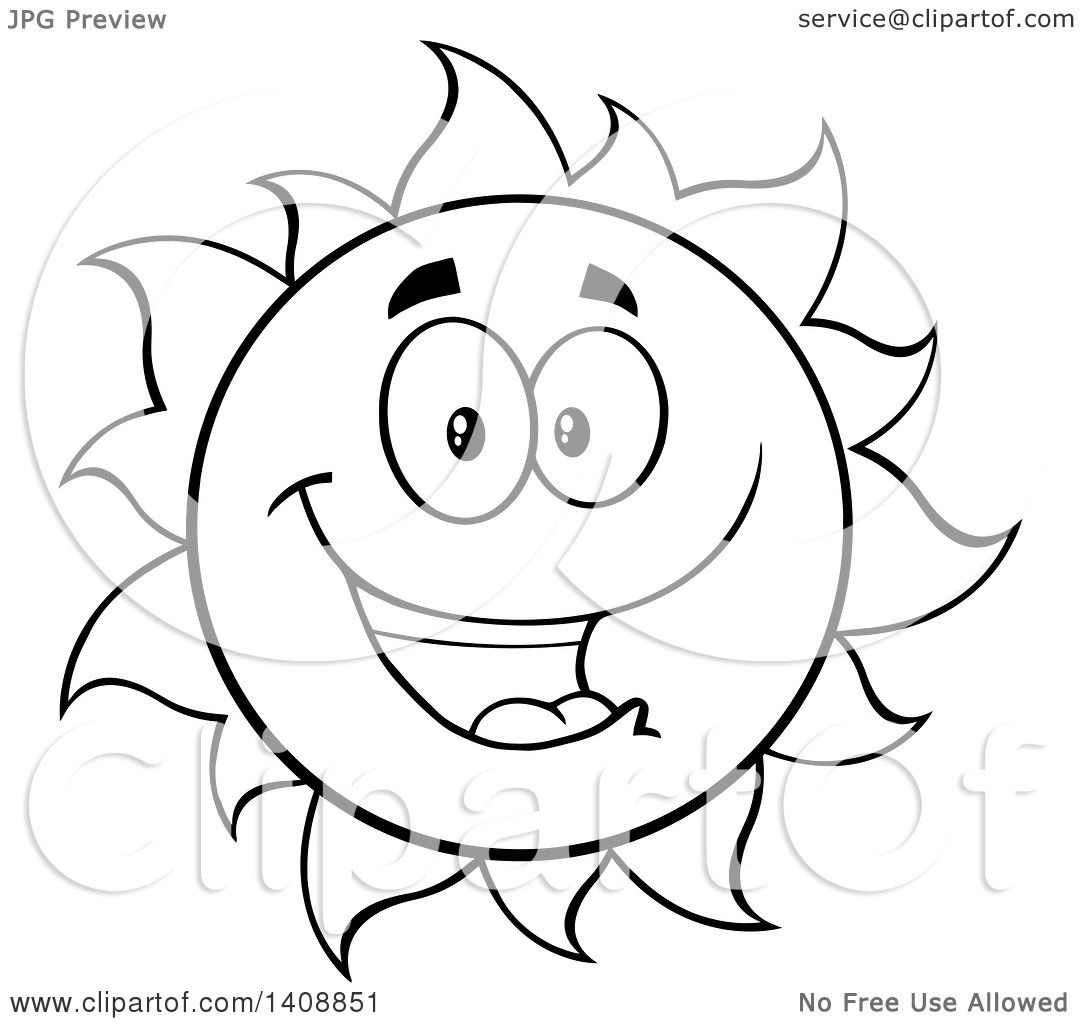 Clipart Of A Black And White Lineart Summer Time Sun