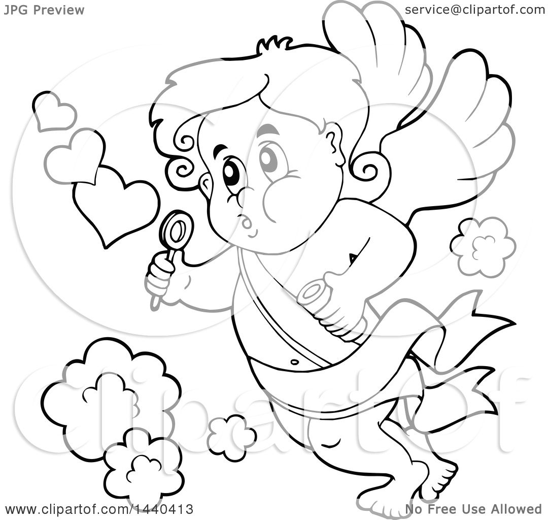 Clipart Of A Black And White Lineart Valentines Day Cupid