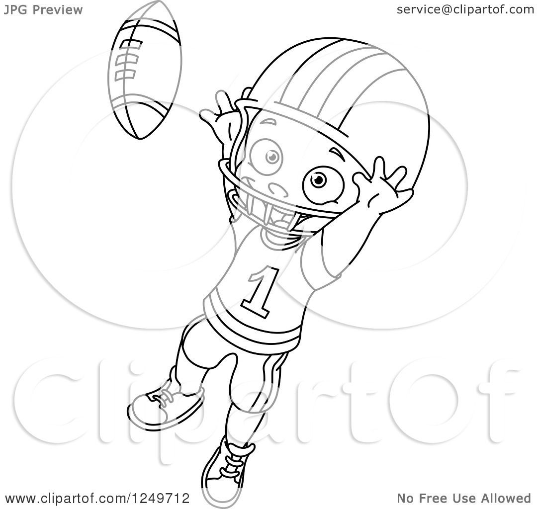Clipart Of A Black And White Little Boy Catching A