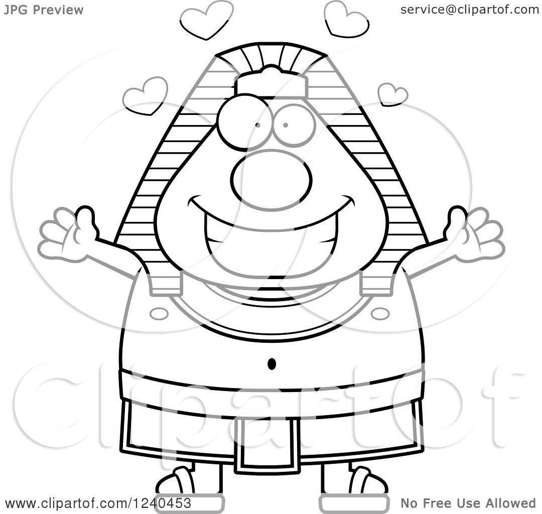 Clipart Of A Black And White Loving Ancient Egyptian Pharaoh With Open Arms And Hearts