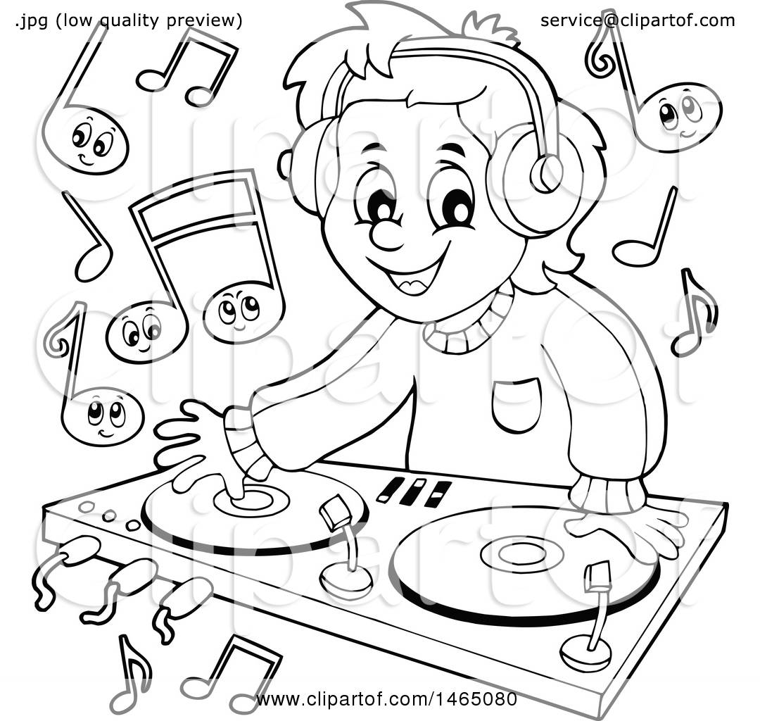 Clipart Of A Black And White Male Dj Wearing Headphones